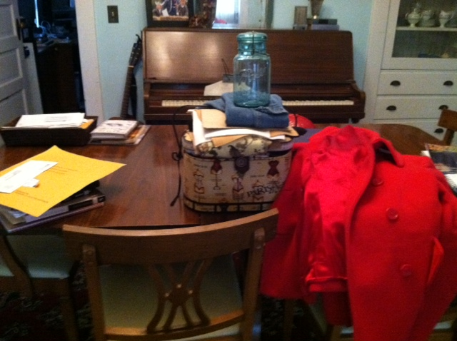 My dining room table.  With Mason.